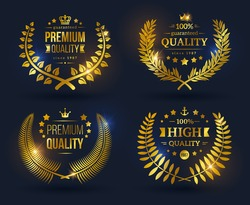 Vector emblems with golden laurel wreath on black background. Shining glossy Quality Guarantee sign.
