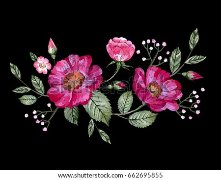 Vector embroidery with flowers