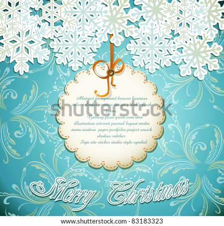 vector emerald festive background with snowflakes