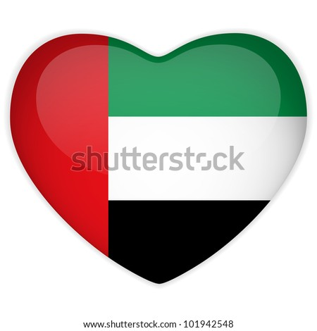 Vector - Emirates Flag Heart Glossy Button