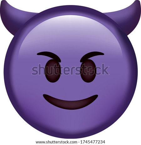 Vector emoji. Angry face. Devil angry vector emoji. Angry emoticon. Cute emoticon isolated on white background.