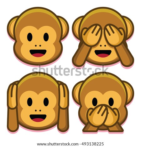 vector emoji monkeys set