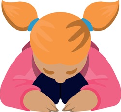 Vector emoticon illustration of a girl praying