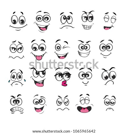 vector emoticons emoji set. cartoon face expression #1065965642