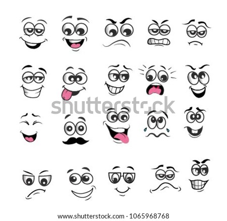 vector emoticons emoji set. cartoon face expression #1065968768