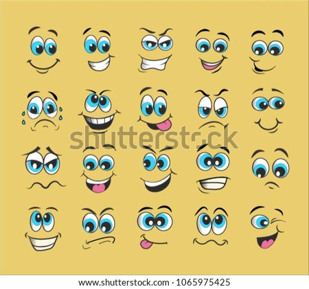 vector emoticons emoji set. cartoon face expression #1065975425