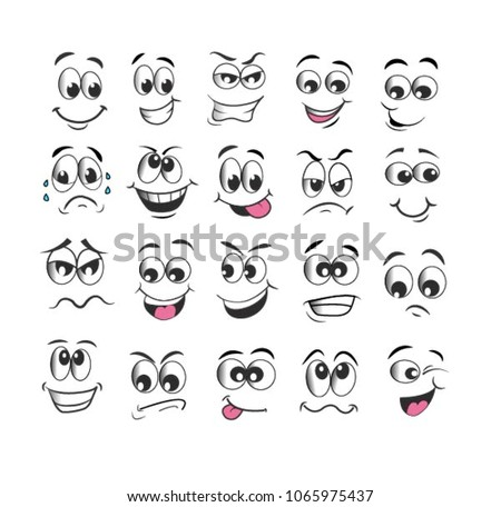 vector emoticons emoji set. cartoon face expression #1065975437
