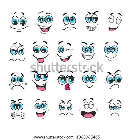 vector emoticons emoji set. cartoon face expression with blue eyes #1065965465