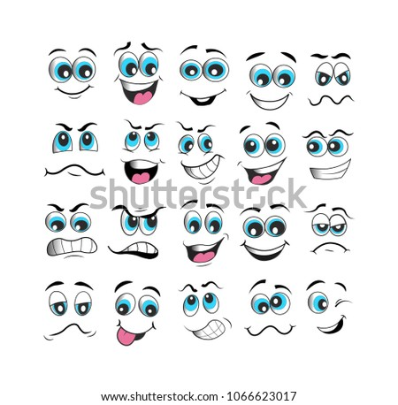 vector emoticons emoji set. cartoon face expression with blue eyes #1066623017