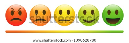 Vector emotion feedback scale on white background. Angry, sad, neutral and happy emoticon set. Glossy red, orange, yellow and green funny cartoon Emoji icon. 3D illustration - Shutterstock ID 1090628780