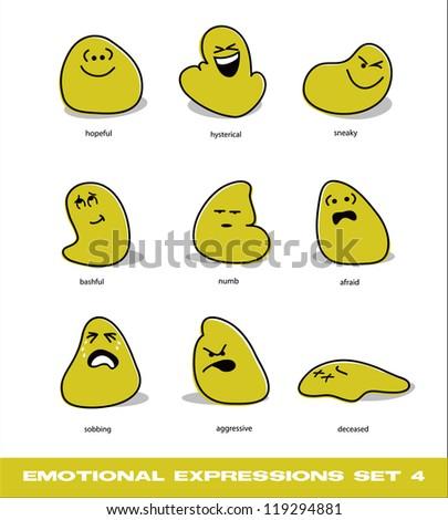 vector emotional expressions set 4