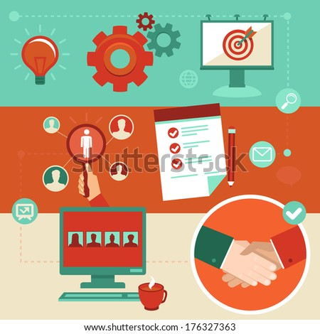 Vector employment infographics elements in flat style human resources and hiring