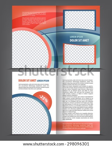 Vector empty bi-fold brochure print template design, newsletter booklet layout #298096301