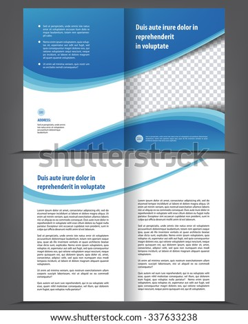 vector empty bi fold brochure print template design newsletter