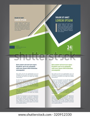 vector empty bi fold brochure print template green design booklet