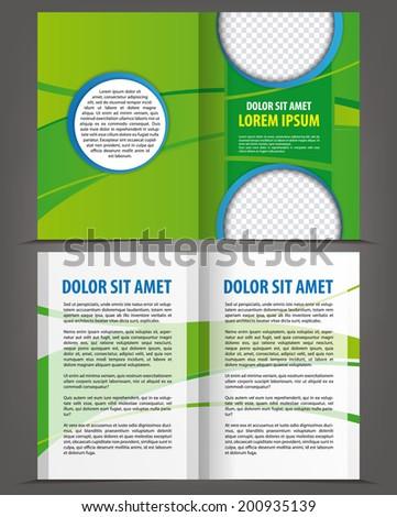 vector empty bi fold brochure print template green eco design ez