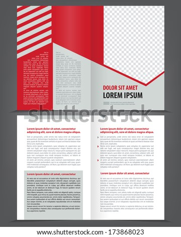Vector empty bifold brochure print design template with red and gray elements