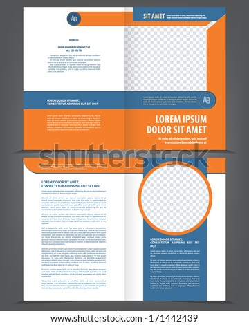 Vector empty bifold brochure template design with orange and dark blue elements