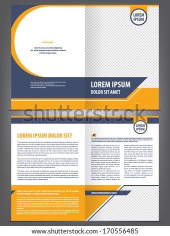 Vector empty brochure template design with orange and dark blue elements