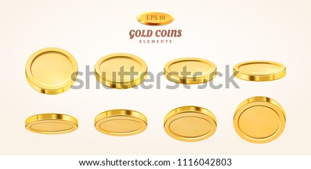 vector empty 3d gold coins set