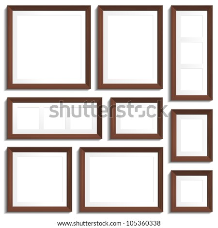 vector empty frames of wenge wood in various standard formats