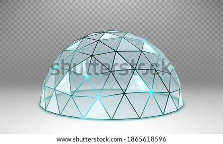 Vector empty glass spherical dome. Round glass dome with frame