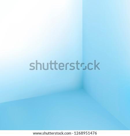 Vector empty light blue corner room background Foto d'archivio ©
