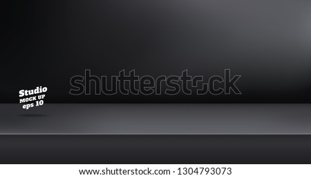 Vector,Empty modern black color studio table room background ,product display with copy space for display of content design.Banner for advertise product on website