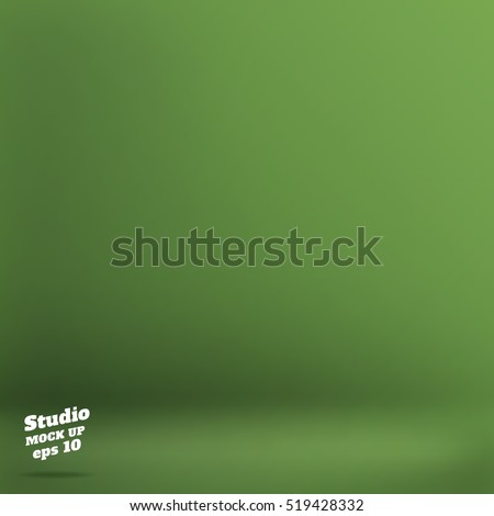 Vector. Empty natural dark green studio room background. Template mock up for display of product. Business backdrop.