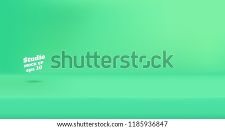 Vector Empty neon light green color studio table room background ,product display with copy space for display of content design.Banner for advertise product on website