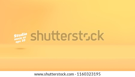 Vector Empty pastel yellow color studio table room background ,product display with copy space for display of content design.Banner for advertise product on website