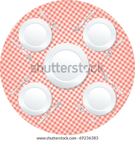 vector empty plates on rounded table