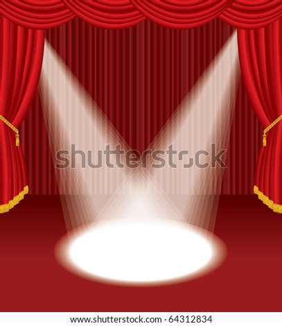 vector empty red stage with two spotlights, eps 10 file - stock vector