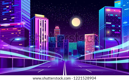Vector empty road in modern megapolis at night. Trails on asphalt way in glowing city, motion on highway. Urban skyscrapers in neon colors, town exterior, architecture background. Cityscape concept.