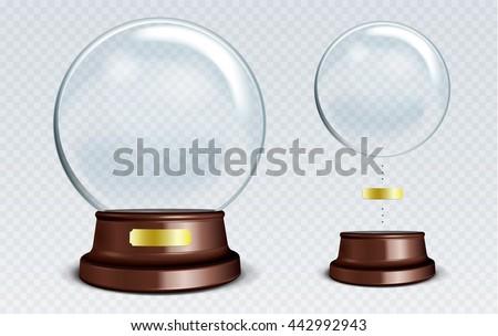 vector empty snow globe white