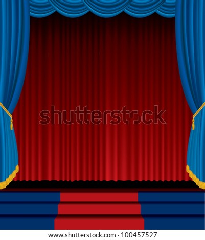 vector empty stage with red and blue curtain