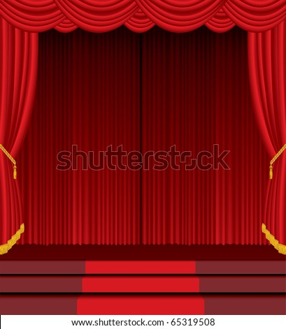 vector empty stage with red carpet on stairs