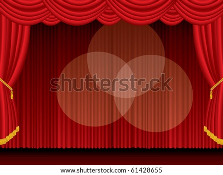 vector empty stage with three spotlights, eps 10 file