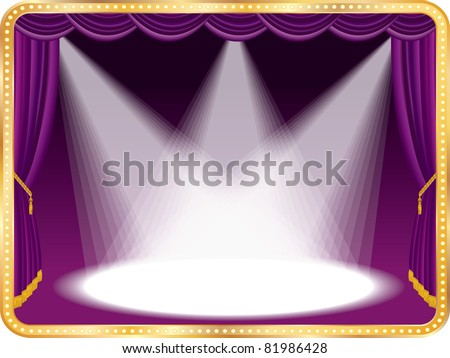 vector empty stage with violet curtain and three spots, eps 10 file