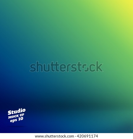 Vector,Empty studio room background with green and blue Material design.