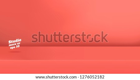 Vector,Empty vivid coral pink color studio table room background ,product display with copy space for display of content design.Banner for advertise product on website