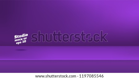 Vector,Empty vivid purple color studio table room background ,product display with copy space for display of content design.Banner for advertise product on website