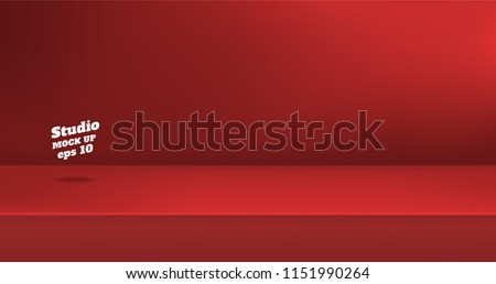 Vector,Empty vivid red color studio table room background ,product display with copy space for display of content design.Banner for advertise product on website