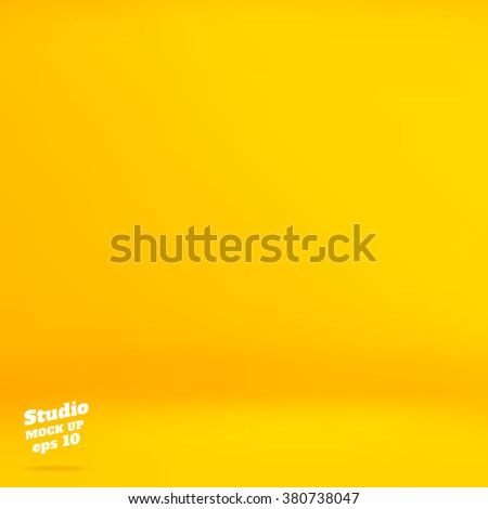 Shutterstock Vector :Empty vivid yellow studio room background ,Template mock up for display of product,Business backdrop.