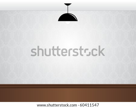 Vector - Empty white room wall with black lamp and wooden floor