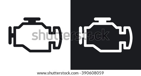 Vector engine icon. Two-tone version on black and white background
