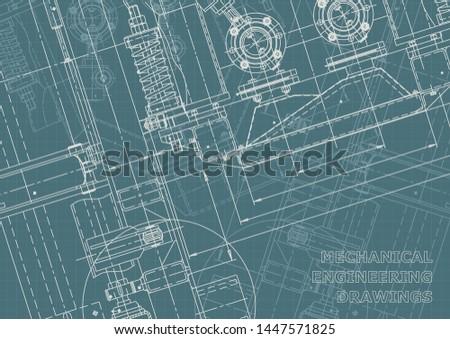 Vector engineering illustration. Engineering drawing, technical documentation