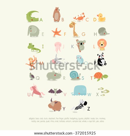 Vector English alphabet for children with cute animals. The crocodile, bear, whale, koala, panda, giraffe, elephant, yak, zebra, rhino, owl, duck, hedgehog, lion, turtle. It can be used as poster
