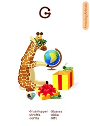 vector English Alphabet series of Amusing Animals. Cartoon illustration letter G. Grasshopper, Gift, Giraffe, Gorilla, Globe, Glasses. Clip art isolated on white background. EPS 10 without mesh