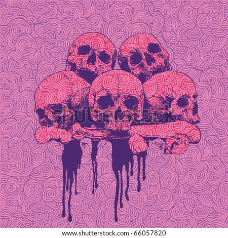 stock vector vector engraved background with a pile of skulls